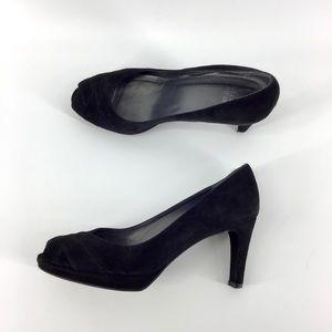 Stuart Weitzman   Velvet Peep Toe Heels